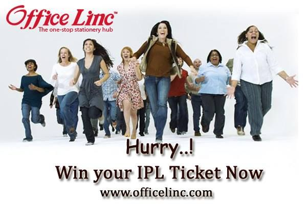 """You have just 2 more days to win IPL Tickets. Hurry! Rush to www.officelinc.com Shop for Rs 250 or more & use the promo code """"IPL2014"""" Win IPL TICKETS & other exciting prizes from #LincPens"""