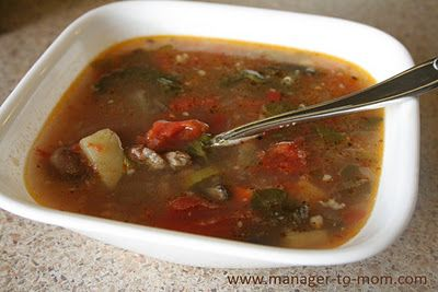 "Manager to Mom: Sausage, Bean, Tomato and ""Whatever Else You Want"" Soup {Recipe}"