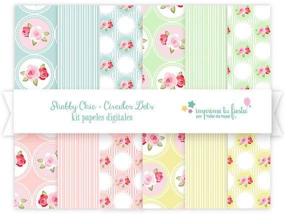 Kit Papeles Digitales Colección Shabby Chic Círculos por ImprimeTuFiesta #digitalpaper