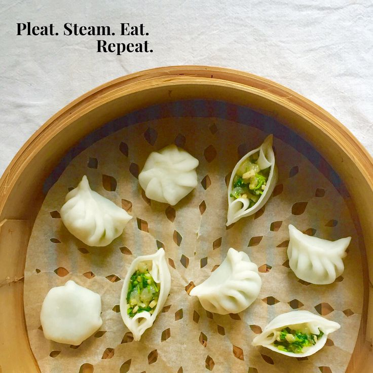 Translucent wheat starch & tapioca wrappers pleated into different dumpling shapes.