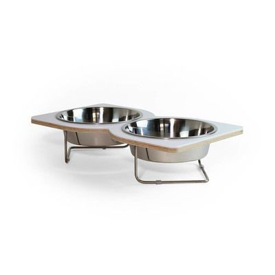 """Twist Pet Feeder for medium to large size Cats and Dogs - This uniquely shaped feeding bowl was designed for the dogs with big appetite. The Twist feature two stainless steel bowls measuring 6.5"""" in diameter. Appropriate for small to medium size dog."""