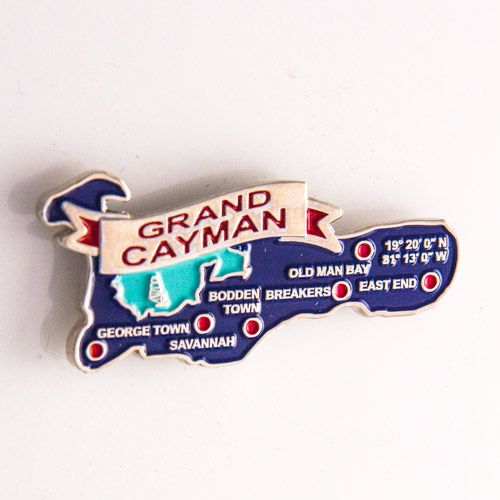 Metal Fridge Magnet: Cayman Islands. Map of Cayman Islands (Nickel Plating and Enamel)