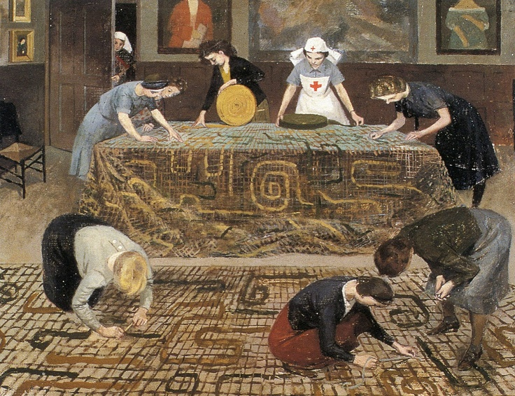 Evelyn Dunbar 'Convalescent Nurses Making Camouflage Nets'