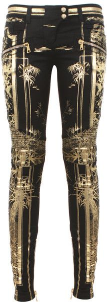 Balmain Gold Black and Goldtone Printed Bamboo Biker Jeans. these are kinda cool!