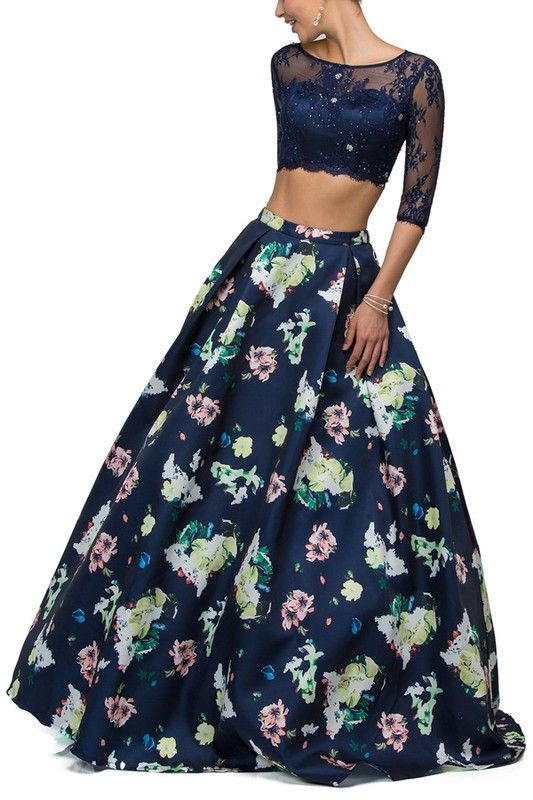 Floral Print Ball gown Lace Crop top 2 piece Set Prom Pageant Dress