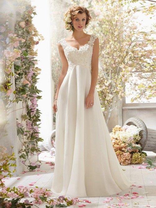 A-Linjeformat V-neck Applikation Beading Court Släp Chiffong Wedding Dress