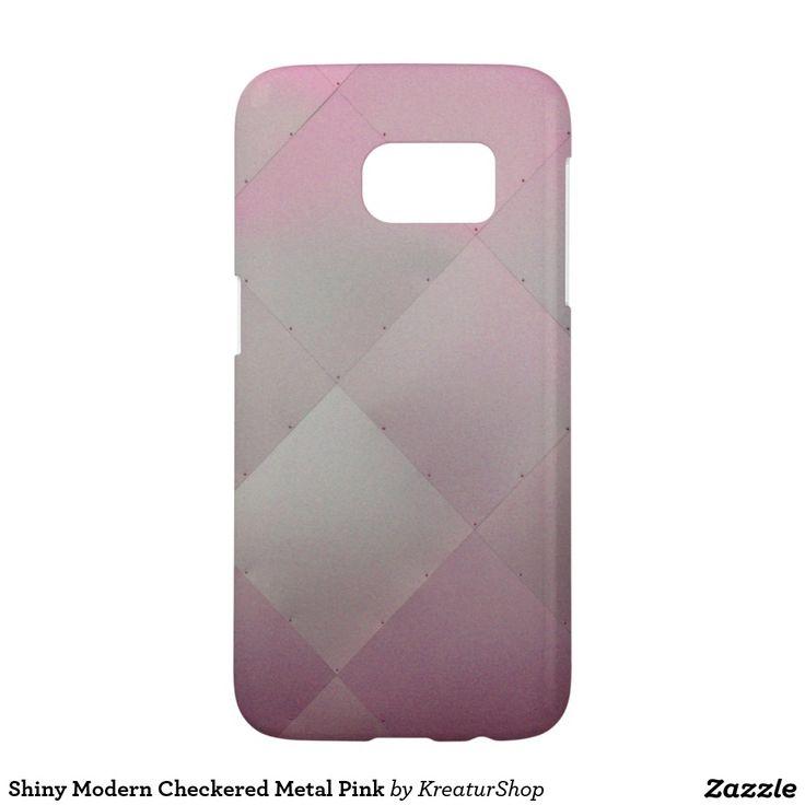 Shiny Modern Checkered Metal Pink Samsung Galaxy S7 Case