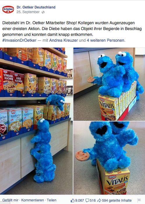 Zur Einführung des Vitalis Müsli Knusper Schoko + Keks .. Cookie Monster Invasion #droetker #socialmedia  https://www.facebook.com/DrOetkerDeutschland