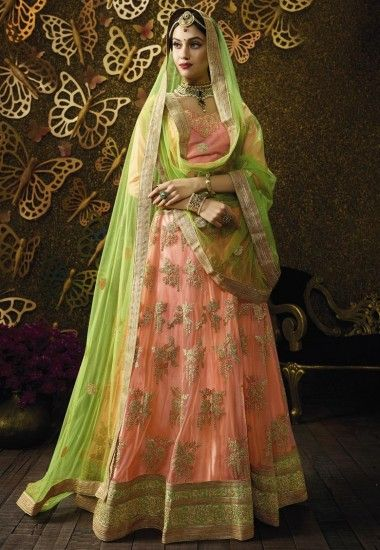#Beautiful #Net #Peach #Lehenga Net Peach flared Semi Stitch lehenga designed with Zari-Resham Embroidery With Stone Work And Lace Border Work. As shown in the photo Banglori Silk Peach choli is available. Price:3468.00 Shop at now:https://tinyurl.com/yatrlb4h #Beautiful #Gorgeous #Look #Different #Style #Patten #Net #Peach #lehenga #With #Choli #Indianwedding #Onlineshop