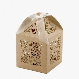 Bomboniere | Favour Boxes | Filigree - Brown Kraft from www.stylepartylove.com.au