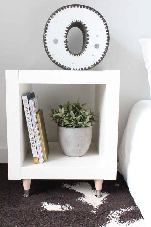 Add legs to an Expedit shelving unit ($19). shelf with legs-ikea
