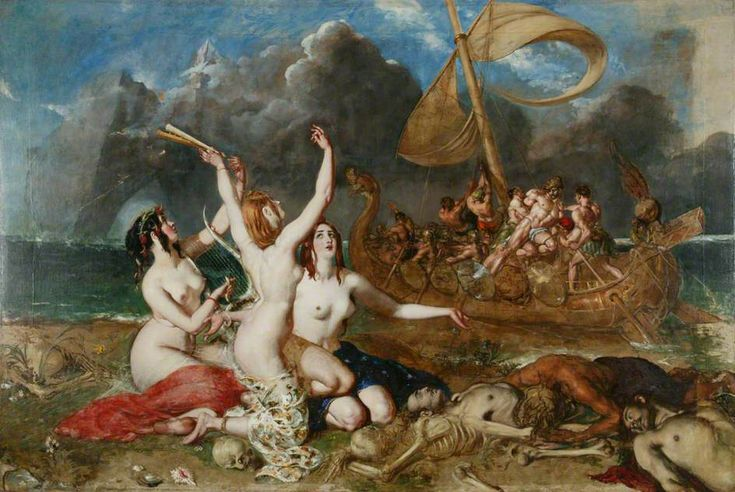 """centuriespast: """" The Sirens and Ulysses by William Etty Oil on canvas, 297 x 442.5 cm Collection: Manchester City Galleries """""""
