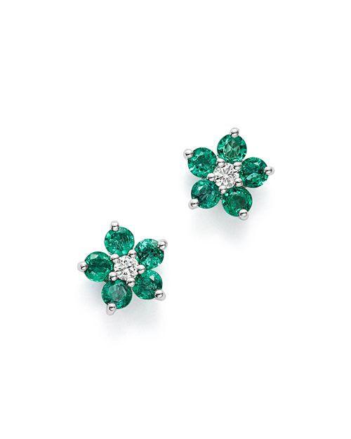 f6935a5aa8823 Emerald & Diamond Flower Stud Earrings in 14K White Gold - 100 ...