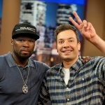 "@JimmyFallon and Curtis ""50 Cent"" Jackson at QVC on June 13, 2012"