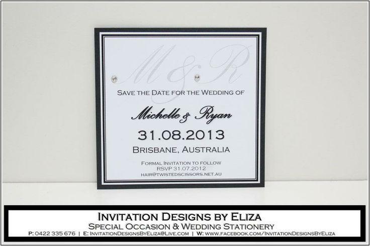 Save the Date Design {Wedding} Black & White Theme www.facebook.com/InvitationDesignsByEliza