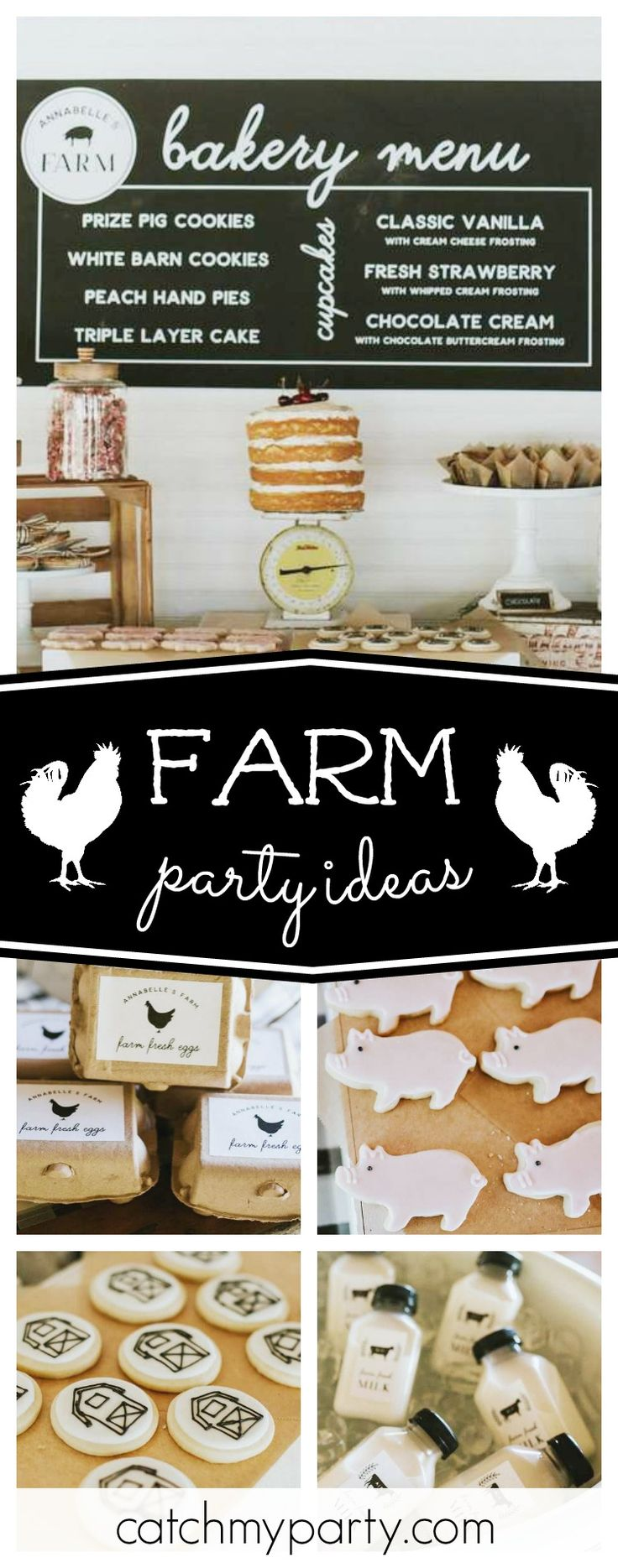 Don't miss this stunning Modern Vintage Farm Party. The pig sugar cookies are so cute!! See more party ideas and share yours at CatchMyParty.com #farm #girlbirthday
