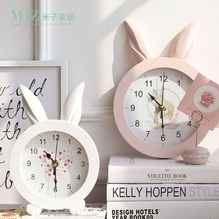 Miz Home White Creative  Rabbit Ear Wooden Wall Quartz Watch Desktop Clock Art Home Decor stickers wall Watches for Girl Women -in Desk & Table Clocks from Home & Garden on Aliexpress.com | Alibaba Group
