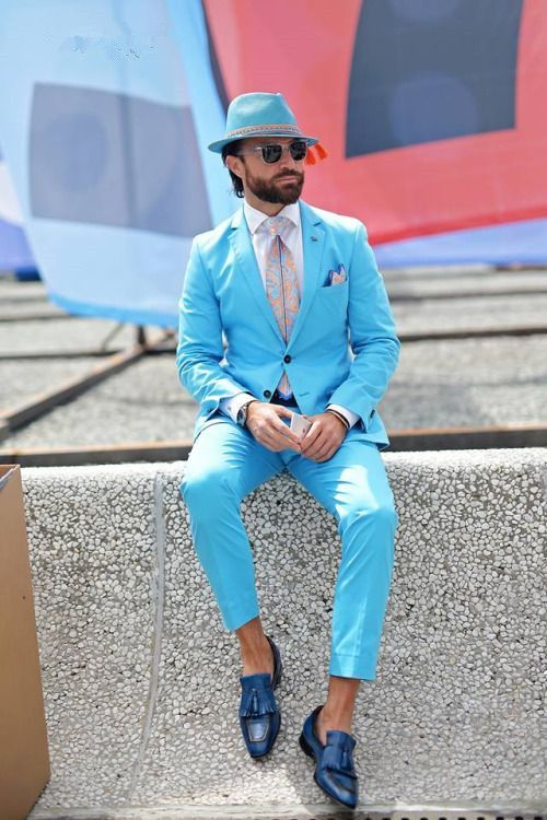 >> Click to Buy << Latest Coat Pant Designs Light Blue Beach Men Suit Slim Fit 2 Piece Tuxedo Custom Groom Casual Blazer Prom Suits Terno Masculino #Affiliate