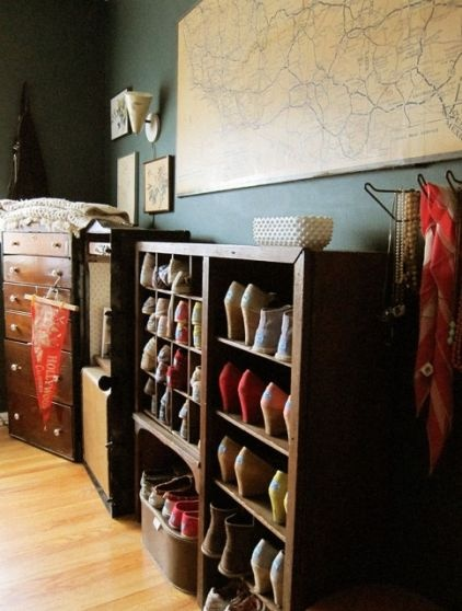 I know a lot of women who would love this vintage shoe rack, which was probably originally a mail sorter.