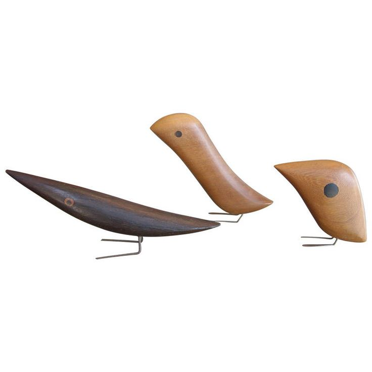 Three Jacob Hermann Birds, One Very Rare in Fancy Wood | From a unique collection of antique and modern sculptures at https://www.1stdibs.com/furniture/decorative-objects/sculptures/
