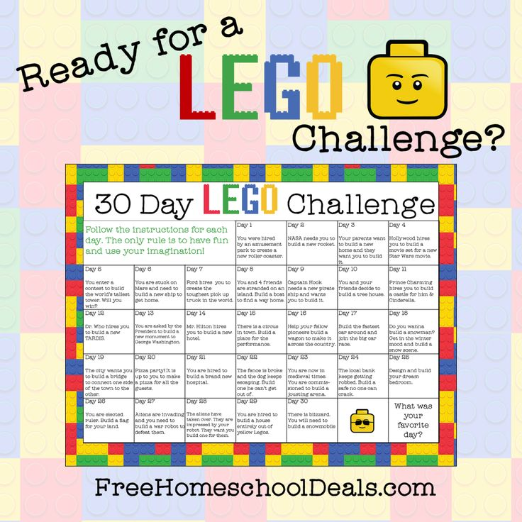 Download a free printable 30-day LEGO challenge calendar to encourage kids' creativity and imagination!