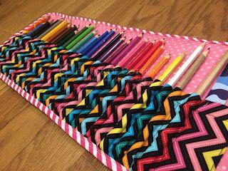 Cotton fabric sewin pencil case / Tutorial piórnik na kredki