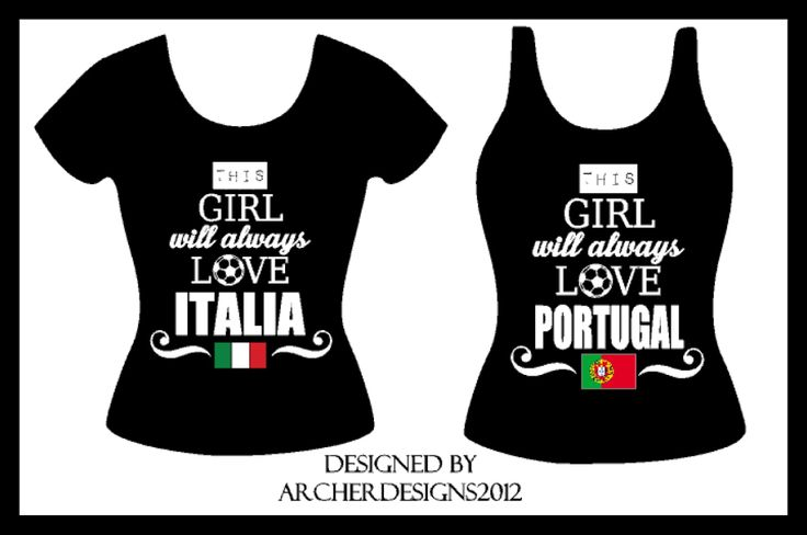 Portugal & Italia Soccer shirts! www.facebook.com/archerdesigns2012  Can be changed to any team!