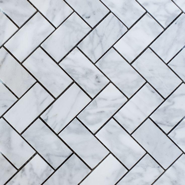 Designer Marble   Carrara Herringbone Mosaic Medium