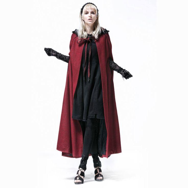 2016 Новый Панк Восторженные Пальто Куртка Женская Мода Красный Повседневная С Длинным Вампир Ведьма Мыс Y547