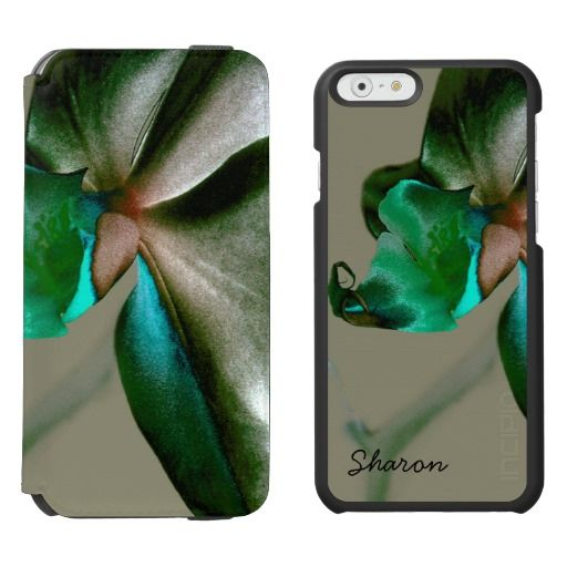 Artistic Flower in Blue, Green & Grey - Custom Name / Incipio Watson™ iPhone 6, 2-in-1 Wallet Case + Interior Case! #fomadesign