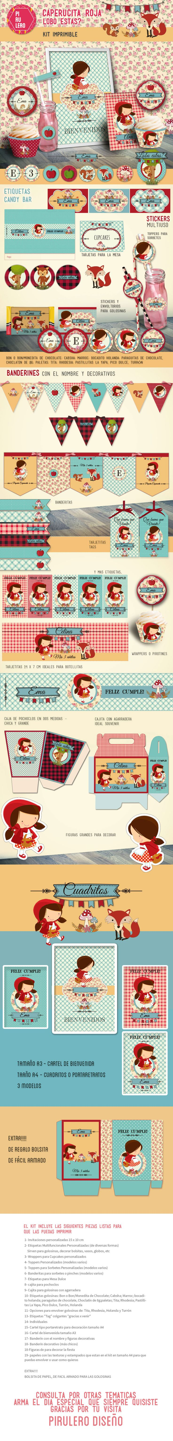 Kit imprimible Caperucita Roja Red Riding Hood #caperucita #caperucitaroja #littlered #littleredridinghood #kitimprimible #RedRidingHood