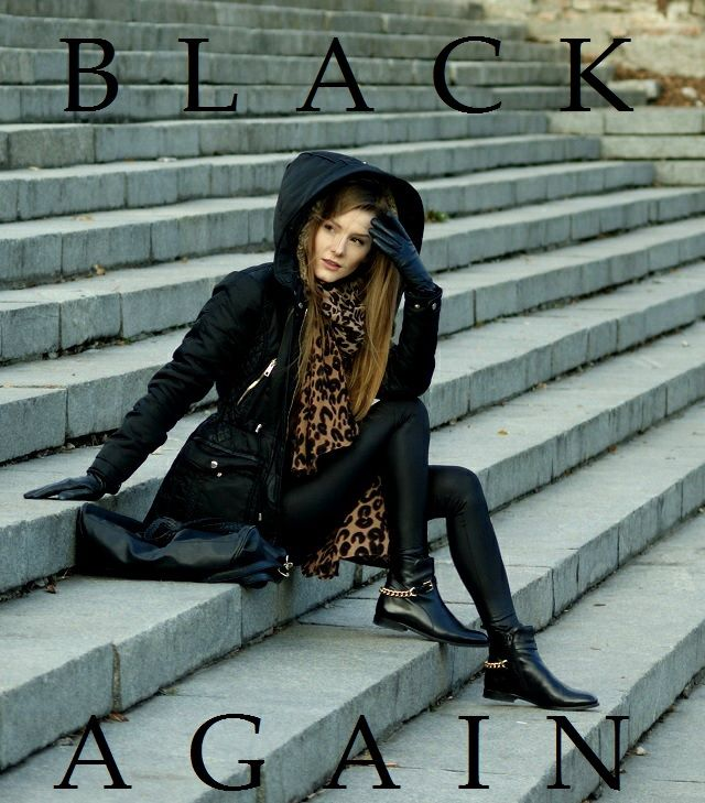 winter look: куртка - Zara, леггинсы - Moodo сумка - ч & м шарф - Oasap, обувь -  TATUAGGI (zebra-buty.pl)