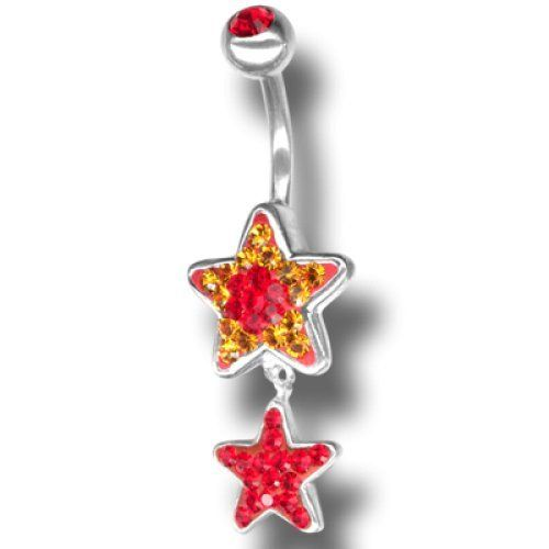 Piercing da Ombelico Crystal Evolution Crystal Star Dangling, Swarovski Rossi e oro, Doppia stella con pendente Bananabell in Titanio Chirurgico Crystal Evolution http://www.amazon.it/dp/B00S9X8CB4/ref=cm_sw_r_pi_dp_ZcVavb1YPPFK3