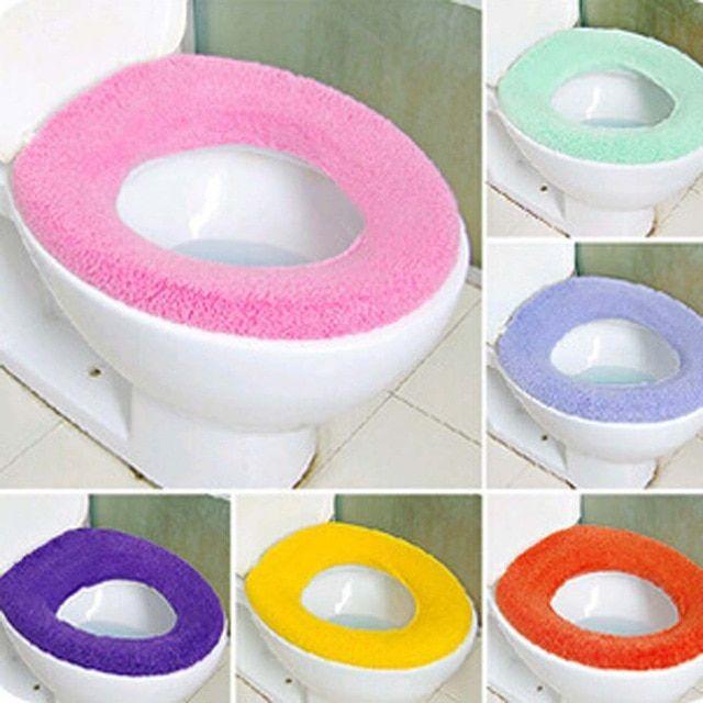 Soft O Shape Toilet Seat Lid Cover Mat Pad Washable Cloth Bathroom Closestool
