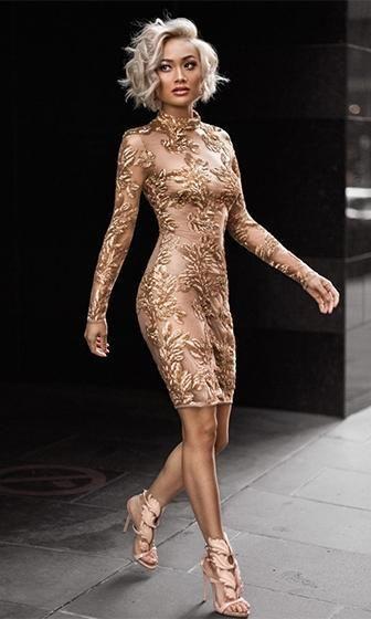 I m Feeling You Gold Nude Sheer Mesh Sequin Long Sleeve Mock Neck Bodycon  Mini Dress 234b7b76eabf