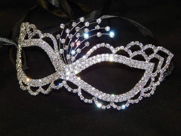 Party Silver Rhinestone Crystal Masquerade Mask Mardi Gras Party Black Ribbon