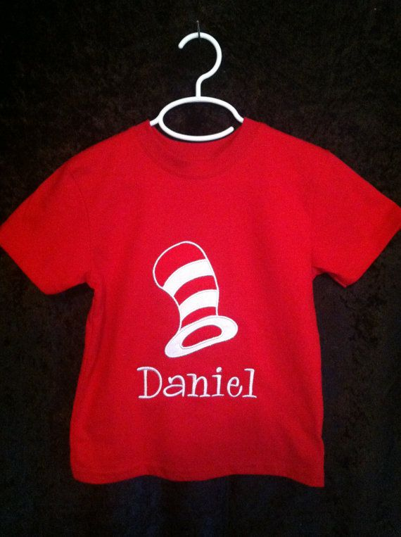 Dr. Seuss Cat and the Hat Appliqué shirt by LM3Deigns on Etsy, $22.00