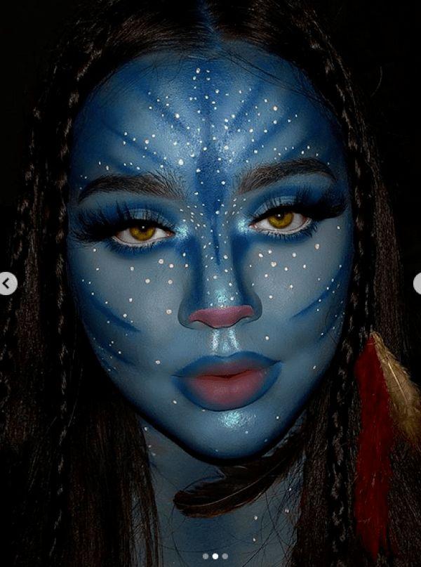 Avatar Halloween, Cool Halloween Costumes, Halloween Make Up, Fairy Costumes, Amazing Halloween Makeup, Halloween Face Makeup, Scarecrow Makeup, Avatar Makeup, Creative Makeup Looks