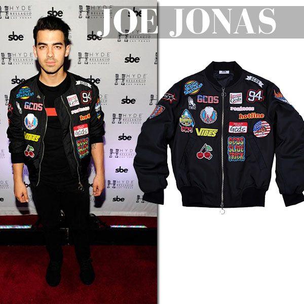 Joe Jonas in black embroidered bomber jacket