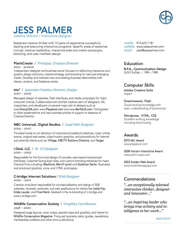 """like this layout - striking but simple enough for """"boring"""" jobs.  and hr people."""