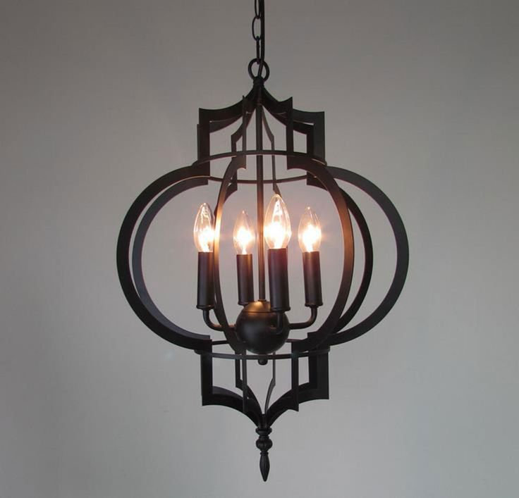Work Lamp Iron Mesh Bird Cage Pendant Light Brief Personalized Plating Metal