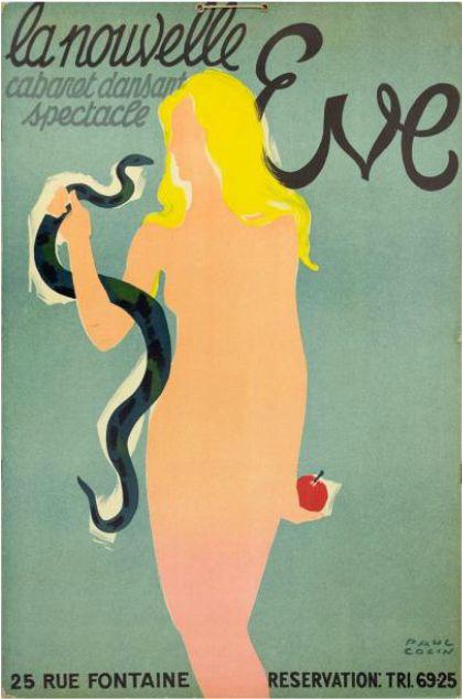 """By Paul Colin (1892-1985), """"La Nouvelle Eve"""", Cabaret dansant spectacle, Paris."""