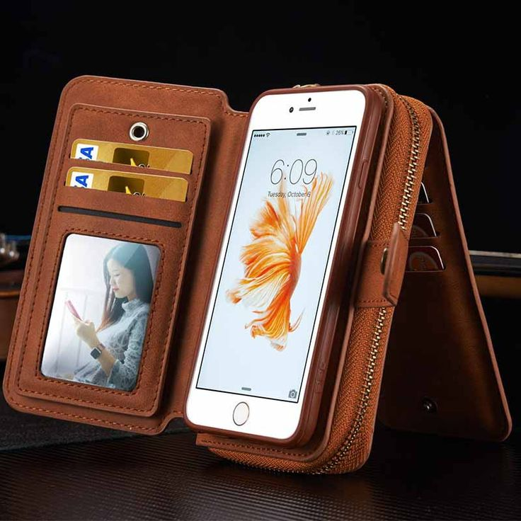 Wallet Pouch Phone Case For iPhone 5 5S SE 6 6S 6G 6 Plus 6S Plus Multi-function Leather Mirror Hard Back Cover Card Holder