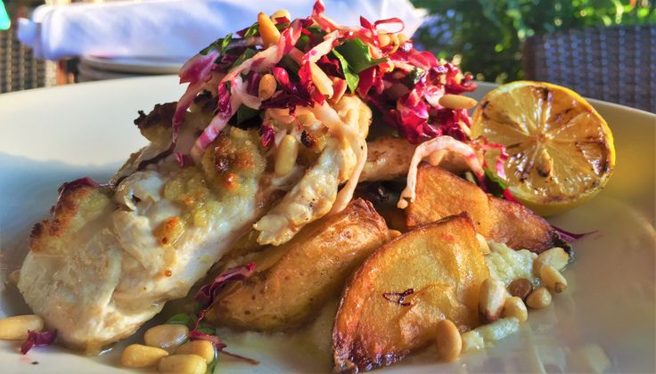 Pine Nut Crusted Chicken. Fennel Puree, Vesuvio Potatoes, Radicchio Salas, Blood Orange Vinaigrette, Toasted Pine Nuts. #ChefsFeatures