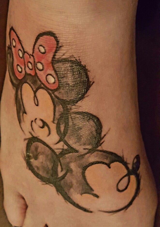 My Mickey and Minnie tattoo.  Love it! Jaz did a great job!
