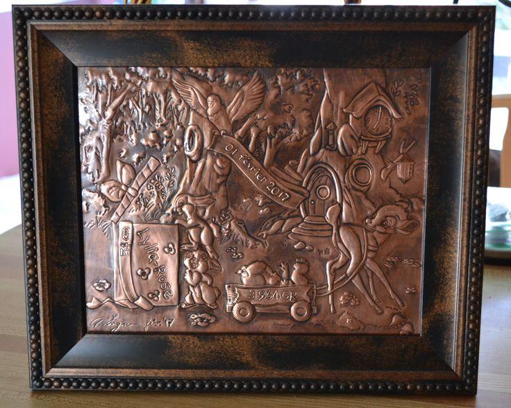 Baby record copper repoussé, copper embossed, fiche de naissance cuivre repoussé