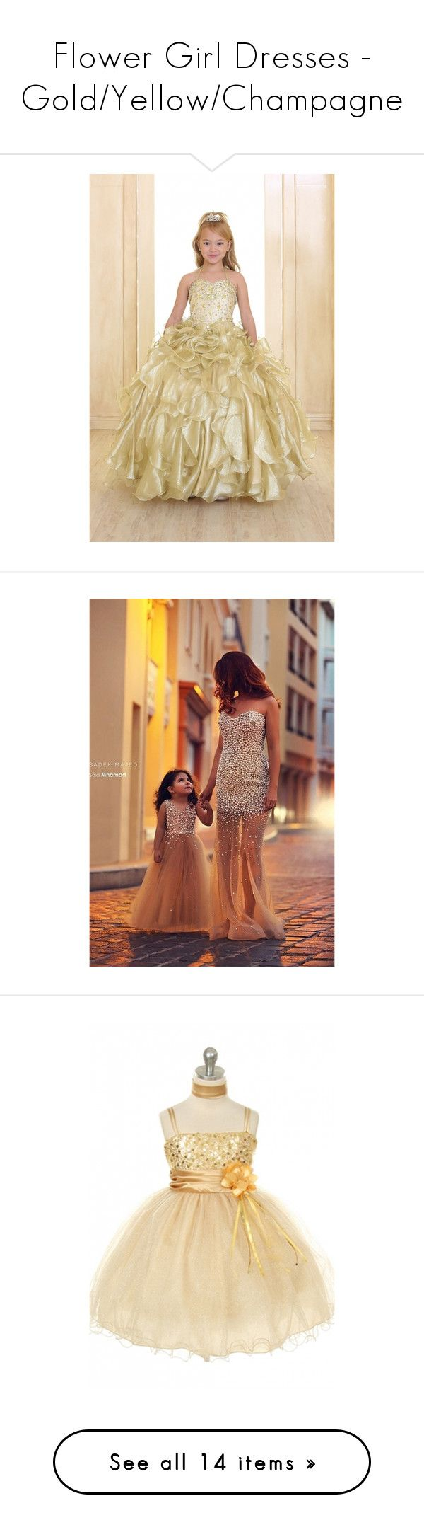 """""""Flower Girl Dresses - Gold/Yellow/Champagne"""" by caribbean-dynasty ❤ liked on Polyvore featuring dresses, beaded dress, frilly dresses, beige cocktail dress, gold beaded dress, gold metallic cocktail dress, gold sequin cocktail dress, gold sparkly dress, sequin cocktail dresses and gold dress"""