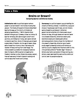 Ancient Greece Lesson: Athens vs. Sparta (Brains vs. Brawn)