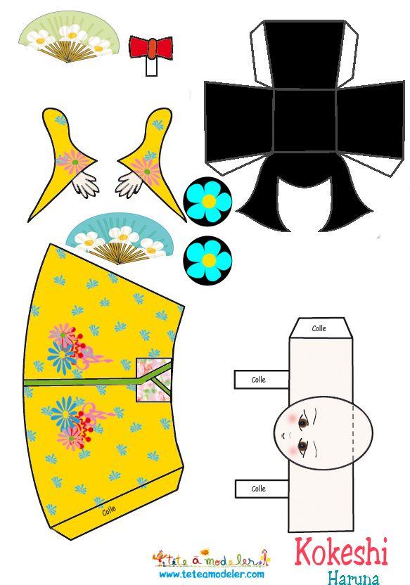Kokeshi Kasumi à imprimer - Tête à modeler                                                                                                                                                                                 Plus