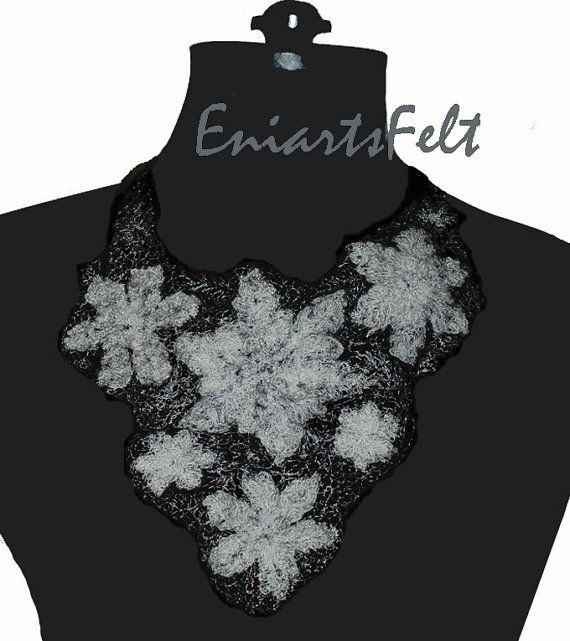 Fiber art  necklace Snowflakes Felted art jewelry